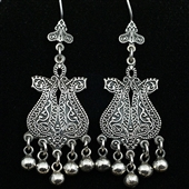 Orientalne srebrne kolczyki paisley