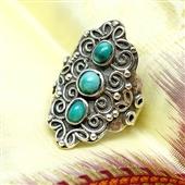 Srebrny etniczny pierścionek z turkusami