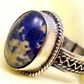 Srebrny duży pierścionek z lapis lazuli
