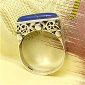 Srebrny pierścionek etno z lapis lazuli