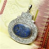 Srebrny amulet ochronny z lazurytem