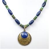 Etniczny naszyjnik z turkusu i  lapis lazuli