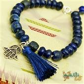 Hamsa: lapis lazuli, amulet i chwost; bransoletka