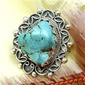 Srebrny pierścionek z dużym turkusem