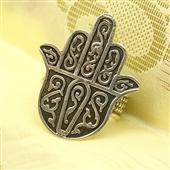 Hamsa: srebrny pierścionek amulet