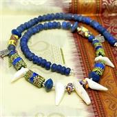 Naszyjnik lapis lazuli, biały koral, szkło Murano