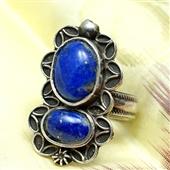 Duży srebrny pierścionek lapis lazuli